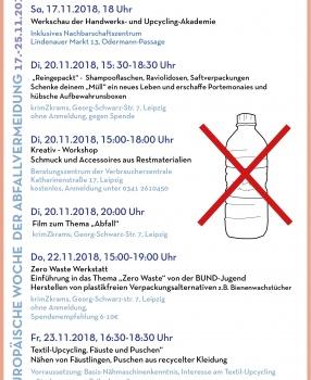 Workshops und Veranstaltungen im Rahmen der Europäischen Woche der Abfallvermeidung